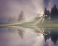 Reflection of foggy sunrise Royalty Free Stock Image