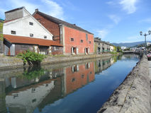 Reflection of The Former Warehouse along Otaru Canal, Popular Attraction in Otaru Town. Hokkaido, Japan stock photo