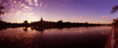 Reflection of the fortress-mandalay palace royalty free stock photo