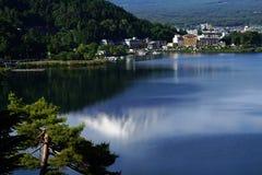 Reflection of Fuji Mountain at lake Kawaguchi, Japan. Reflection of Fuji Mountain with snow cap at lake Kawaguchi, Japan royalty free stock images