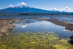 Reflection of Fujisan Mountain in spring, Kawaguchiko lake, Japan Stock Image
