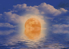 Reflection of full moon Royalty Free Stock Photo