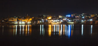 Reflection of the ghats in Pushkar Stock Photos