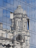 Reflection on glass of port of liverpool building Royalty Free Stock Image