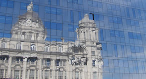 Reflection on glass of port of liverpool building Stock Photography
