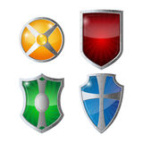 Reflection glossy green, orange, blue, yellow red shields with emblems. Set of shields protection, web security, antivirus logotype concept. Safeguard policy Stock Illustration
