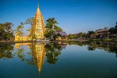 Reflection of Golden pagoda Royalty Free Stock Image