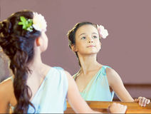 Reflection of graceful little ballerina, close-up Stock Image