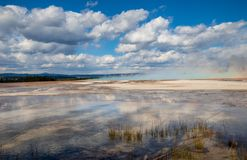 Reflection in Grand Prismatic Spring runoff royalty free stock photo