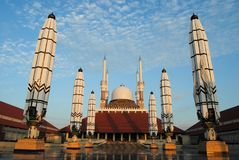 Reflection of Great Mosque of Central Java, Semarang, Indonesia. The mosque complex covers 10 hectares 25 acres. There are three central buildings arranged in royalty free stock image