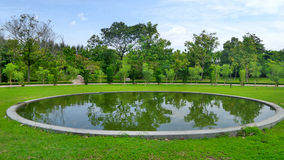 Reflection of greenery in the round pond under blue sky Royalty Free Stock Photos