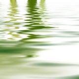 Reflection of greenery in water. Reflection of greenery mirrored on the surface of calm rippled water for a background of tranquillity and wellbeing Stock Image