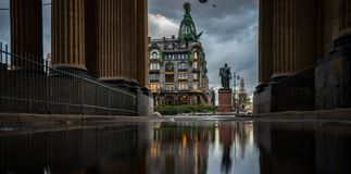 Reflection Griboedov Canal Embankment, St. Petersburg Russia. Reflection griboedov canal embankment st petersburg russia stock photos