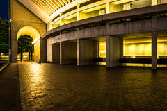 Reflection Hall at night, seen at Christian Science Plaza in Bos Stock Images