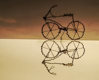 Reflection of a handmade bike stock image