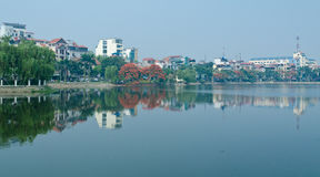 Reflection in Hanoi West Lake. On the north bank of the West lake, in the north of Hanoi Stock Images