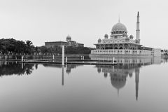 Reflection of the holy Mosque in black and white Royalty Free Stock Photos