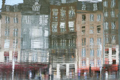 Reflection of Honfleur, France. Nice typical houses of Honfleur reflected in water Stock Photography