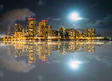 Reflection of Honolulu, Waikiki and Diamond Head Royalty Free Stock Photography