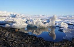 Reflection ice at Jokulsarlon. Reflection ice in the morning light at Jokulsarlon stock photography