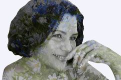 Double exposure, 3D, inner world, art, thoughts, feelings, fantasies, dreams, creativity, beauty, flowers, landscape, portrait, fa. Reflection of the inner world royalty free stock images
