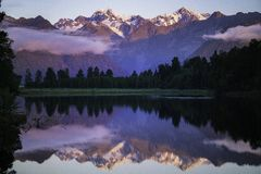 Reflection island Lookout, Lake Matheson stock photography