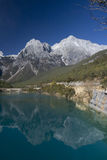 Reflection of Jade Dragon Snow Mountain. At Baishui (White River), Lijiang, Yunnan, China royalty free stock photo