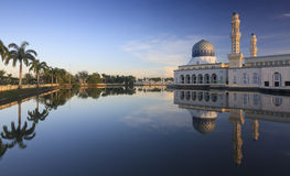 Reflection of Kota Kinabalu city mosque at Sabah, Borneo Royalty Free Stock Images