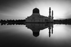 Reflection of Kota Kinabalu mosque in black and white Stock Photos