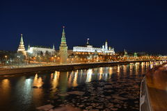 The reflection of the Kremlin in the Moscow river. Moscow at night in the winter. The reflection of the Kremlin in the Moscow river Stock Photos