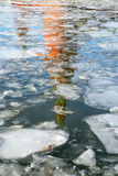 Reflection of Kremlin in waters of Moscow River Royalty Free Stock Images