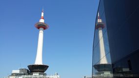 Reflection of Kyoto Tower from Station Stock Images