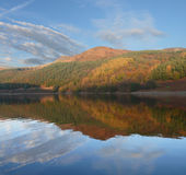 Reflection in Ladybower. Autumn reflection of clouds and hill in  Ladybower reservoir in Peak District - Yorkshire Stock Photography