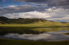 Reflection in lake. Reflection in Great White lake, Mongolia Stock Photos