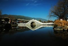 Dali Xizhou Ancient Town, Yunnan. Reflection of Lake Bridge in Ancient Town of Dali Xizhou Stock Photos