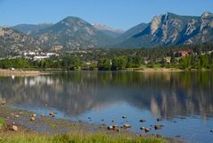 Reflection: Lake Estes by Early Morning. Early morning reflection on Lake Estes at Estes Park, Colorado royalty free stock photography