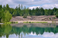 Reflection in lake forest. Forest to cut up the lake shore erosion Royalty Free Stock Photos