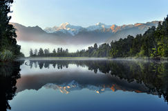 The reflection of Lake Matheson. Winter in New Zealand royalty free stock photo