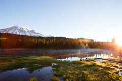 Reflection Lake. Sunrise at Reflection Lake with Mt. Rainier in the background Royalty Free Stock Photos