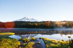Reflection Lake. Sunrise at Reflection Lake with Mt. Rainier in the background Royalty Free Stock Images