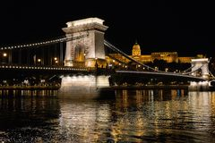 Reflection, Landmark, Night, Bridge royalty free stock images