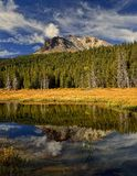 Reflection of Lassen Peak in Hat Lake, Lassen Volcanic National Park Royalty Free Stock Photos