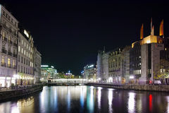 Reflection of lighs in Rhоne River, Geneva Royalty Free Stock Image