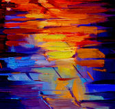 Reflection of light on a roadway during a rain, abstract paintin Stock Photo