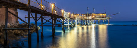 Reflection of lights  under trabucco. Royalty Free Stock Photography