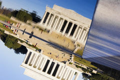 Reflection of the Lincoln Memorial on the surface of the Reflecting Pool, National Mall, Washington DC. Artistic view of the reflection of the historic Lincoln Royalty Free Stock Photos