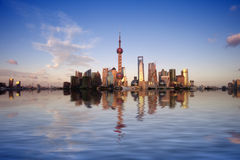 Reflection  of lujiazui in the huangpu river Stock Image