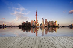 Reflection  of lujiazui in the huangpu river Royalty Free Stock Photography