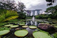 Reflection of the Marina Bay Sands Hotel. Stock Photo