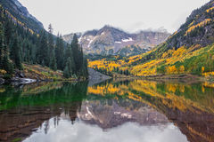 Reflection of Maroon Bells in Fall Stock Photos